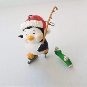 Vintage Holiday Fisherman Penguin Xmas Ornament